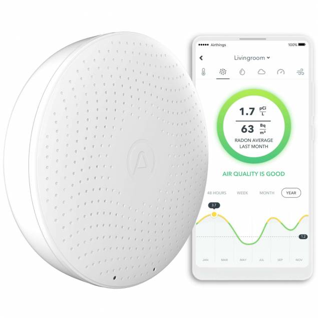 Image of   Airthings Wave Plus smart radon og indendørs luftkvalitet detektorer