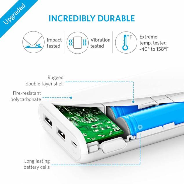 Image of   Anker PowerCore 20.100 mAh powerbank hvid/sort