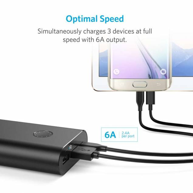 Image of Anker PowerCore+ 20100 mAh powerbank m. USB-C sort