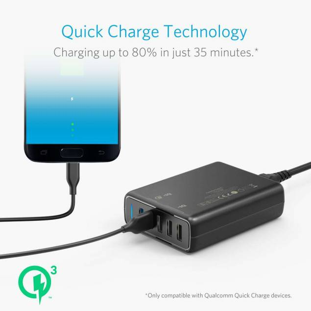 Image of   Anker PowerPort Speed x5 USB, 2x Quick Charge 3.0 sort