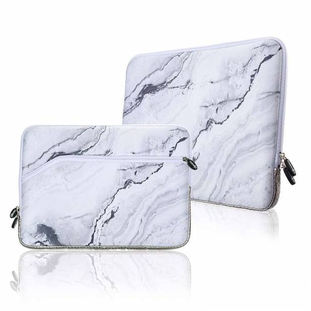 """Sleeve til 13,3"""" bærbare Mac/PC i hvid marmor"""