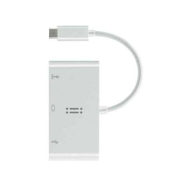 Image of   Aiino USB-c til VGA, USB 3.0 og USB-C hub i hvid