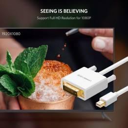Mini displayport til DVI kabel 2m hvid Ugreen