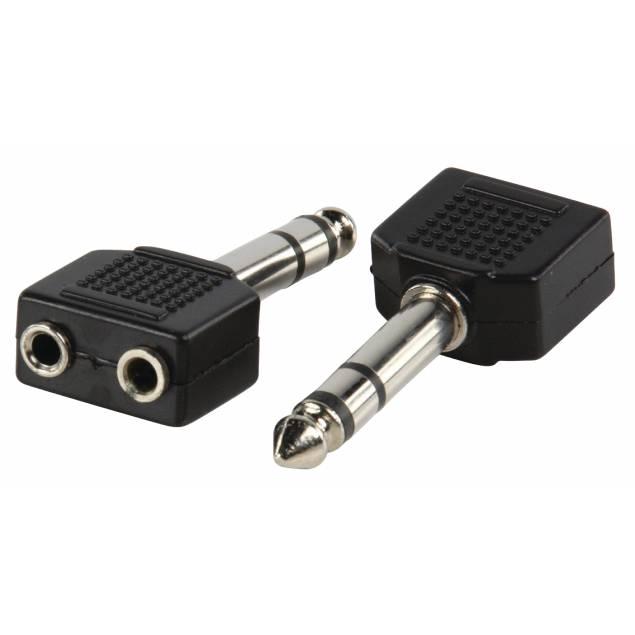 Image of   2x mini jack 3,5mm til 1x jack 6,35mm
