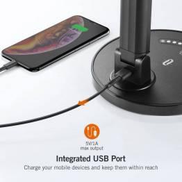 TaoTronics skrivebordslampe m. 7 modes sort med USB oplader