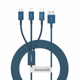 Baseus Superior 3-i-1 kabel USB til Lightning, MicroUSB og USB-C - blå