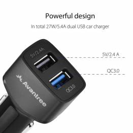 Avantree QC Dual USB Biloplader